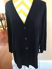 Chico's Travelers Size 3 Midnight Blue 3 Button V-Neck Cardigan Jacket EUC