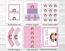 Lil Monkey Girl Jungle Safari Pink Purple Printable Baby Shower Party Package