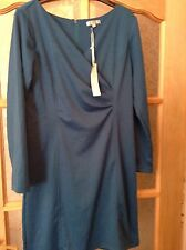 """BNWT """" Nougat London """" Size Large 14  Fitted teal Day Evening Dress (42 EU) New"""