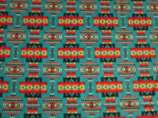 Navajo Indian Teal Gold Mulit Overall Print Cotton Flannel Fabric FQ