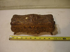 "Antique Vintage Art Nouveau B & W Large 10"" Trinket Casket Gold Jewelry Box"
