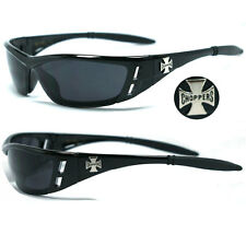 Choppers Bikers Mens Wrap Around Face Sunglasses - Shiny Black Super Dark C46