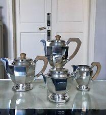 Service à thé café Art Déco en métal argenté  théière cafetière verseuse sucrier