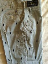 NWT RALPH LAUREN POLO SHORTS LITE BLUE/WHITE PIN STRIPE W/ PONIES ALL OVER 29