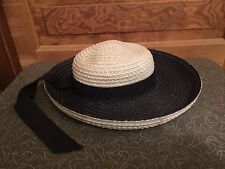 Vintage Rozanne New York Women's Navy Blue and White Straw Hat