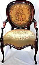 ANTIQUE VICTORIAN NEEDLEPOINT BALLOON BACK CARVED MAHOGANY FIRESIDE PARLOR CHAIR