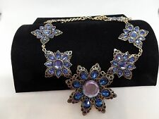 SPECTACULAR BLUE CRYSTAL RUNWAY STATEMENT NECKLACE!