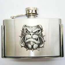 Buckle Hip flask, Bulldog, Pocket flask, real fillable, Belt Buckle