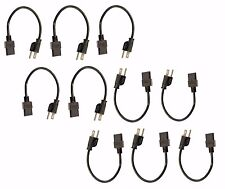(10) Pack of C13 to US Outlet AC Power Cord 1' Foot Short 18AWG for PC Computer