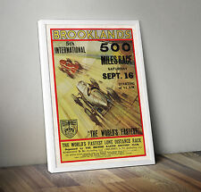 Vintage car poster racing motorsport automobile- A4 - Brooklands 500 miles