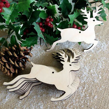 Wooden Leaping DEER Christmas Stag Birch Decoration Tags Art Craft Shapes x10