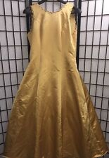 Womens Custom Gold Long Formal Prom Dress Evening Ball Wedding Gown Plus Size