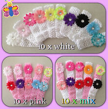 10  x bulk Cute Baby Girls  Flower Hairbow  Crochet Headbands Hair set