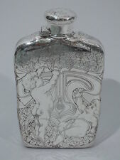 Tiffany Flask - 7076 - Antique Cherubs Picking Grapes - American Sterling Silver