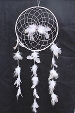 NEW LARGE WHITE DREAM CATCHER HANDMADE WITH STRING FEATHER CAR WALL DECOR IW