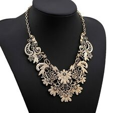 Lula Belle Victorian Floral Metal Lace Bib Necklace Gold US SELLER Armoire Jolie