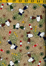 Snoopy & Woodstock Hugs for Military Heroes cotton quilt fabric Tossed on Tan