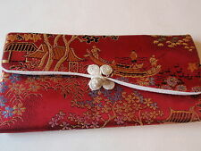 Vintage Asian Fabric Padded Ladies Eyeglass Case Burgundy Gold Fishermen Floral