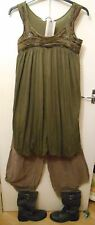 Lagenlook layer Jersey Abito BALLOON PUFFY Cachi Verde 8 10 12 Bnwt