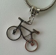 Large Bicycle Bike Cycling Dangle Bead for European Style Charm Bracelet Silver