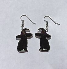 Black Cat Earrings Witches Hat Charms