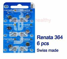 Renata SR621SW 364 Silver Oxide button Battery x 6 pcs Swiss Made FREE Post