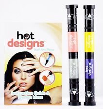 2 Hot Designs Nail Art Pens, 2-in-1 Brush & Pen - As Seen on TV - Not in Box