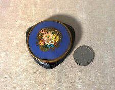 FRENCH Compact Powder Box ENAMEL Blue CELLULOID Brass Frame Floral Accent
