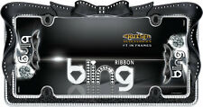 Chrome/Black Ribbon Girl Dress Bling License Plate Frame for USA Car-Truck-SUV