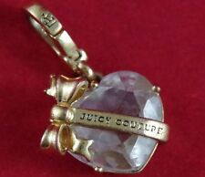 HTF Retired 2010 JUICY COUTURE HEART CRYSTAL w/GOLD BANNER & BOW Charm -YJRU4300