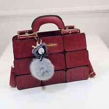 Fashion Lady PU Handbag Purse Shoulder Bag Fur Ball Messenger Satchel Tote Gifts