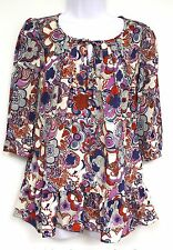 Liberty of London Target Jumper Print Top Size SMALL Floral Blue Red White NEW