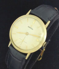 VINTAGE OMEGA CALIBER 510 MANUAL WIND MENS WRIST WATCH – LINEN DIAL - 14K GF