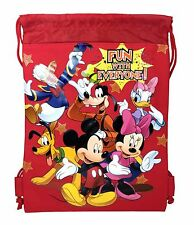 Disney Mickey Mouse & Friends Drawstring Backpack School Sport Gym Bag for Kids