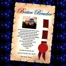 Beste Schwester der Welt -bester Bruder Geschenk Urkunde Gold mit und ohne Foto