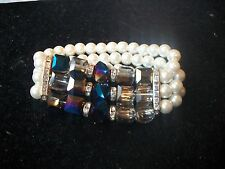 Bracelet STUNNING Faux Pearl, AB Stones & Clear Crystal Stretch Bangle NIB WOW!