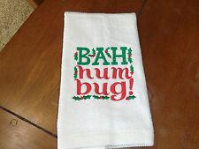 White Embroidered Finger Tip Towel - Christmas -Bah Humbug