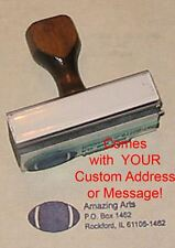 Football Rubber Stamp With Custom Address or Message