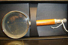 ORIGINAL WOODEN ROSEWOOD SILVER PLATED GOLF BALL HANDLED MAGNIFYING EYE GLASS