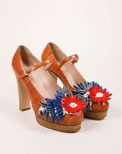 CHANEL Mary Jane Heels SPRING 2010 COLLECTION 37.5 SS FLORAL FLOWER WOOD CHUNKY