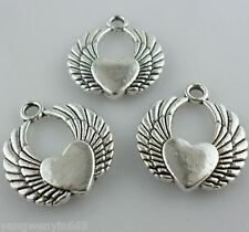 3pcs Tibetan silver Angel Love heart wing Charms Pendants Beads 19*22mm