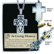 Memorial Locket Cross Necklace  Memory Ash Urn Keepsake