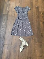 Monsoon Polka Dot Tea Dress, Grey, Size 10