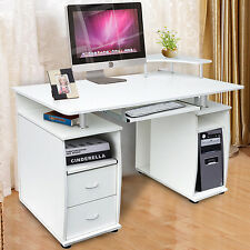 White Computer Desk with Shelves Cupboard & Drawers Home Office Study Table