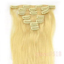 "New15""18""20""22""Clip in Remy Real Human Hair Extensions Straight Any Color&Length"
