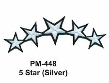 """3""""  5 STAR (SILVER) Embroidered Military Patch"""