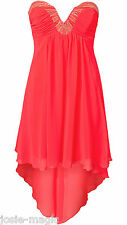 Lipsy UK 10 Plunge Neck Waterfall Dress with Hi Low Dipped Hem Bright Neon Pink