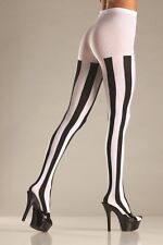 Women Punk Rock Black & White Vertical Stripe Pantyhose Tights Fancy Dress