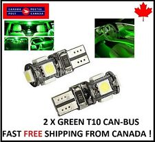 2PCS T10 GREEN 194 168 1W 5SMD LED No Error Canbus Side Lamp Wedge Light Bulb 1W