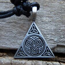 Triangle Pyramid Celtic Druid Spiral Pewter Pendant Charm Cotton Necklace #437